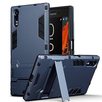 Sony Xperia XZ / XZs Carcasa Híbrida de Silicona + Polycarbonato Doble Resistencia, y soporte para mesa - Azul oscuro