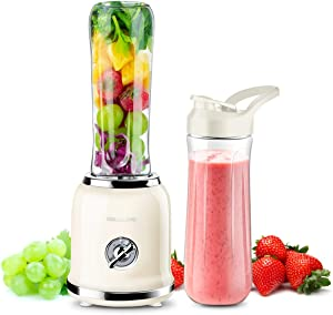 REDMOND Personal Blender Countertop Smoothie Blender 21000RPM with 2 x 20oz Travel Bottle 2 Speed, Pulse Function 6 Stainless Steel Blades BPA Free Cream