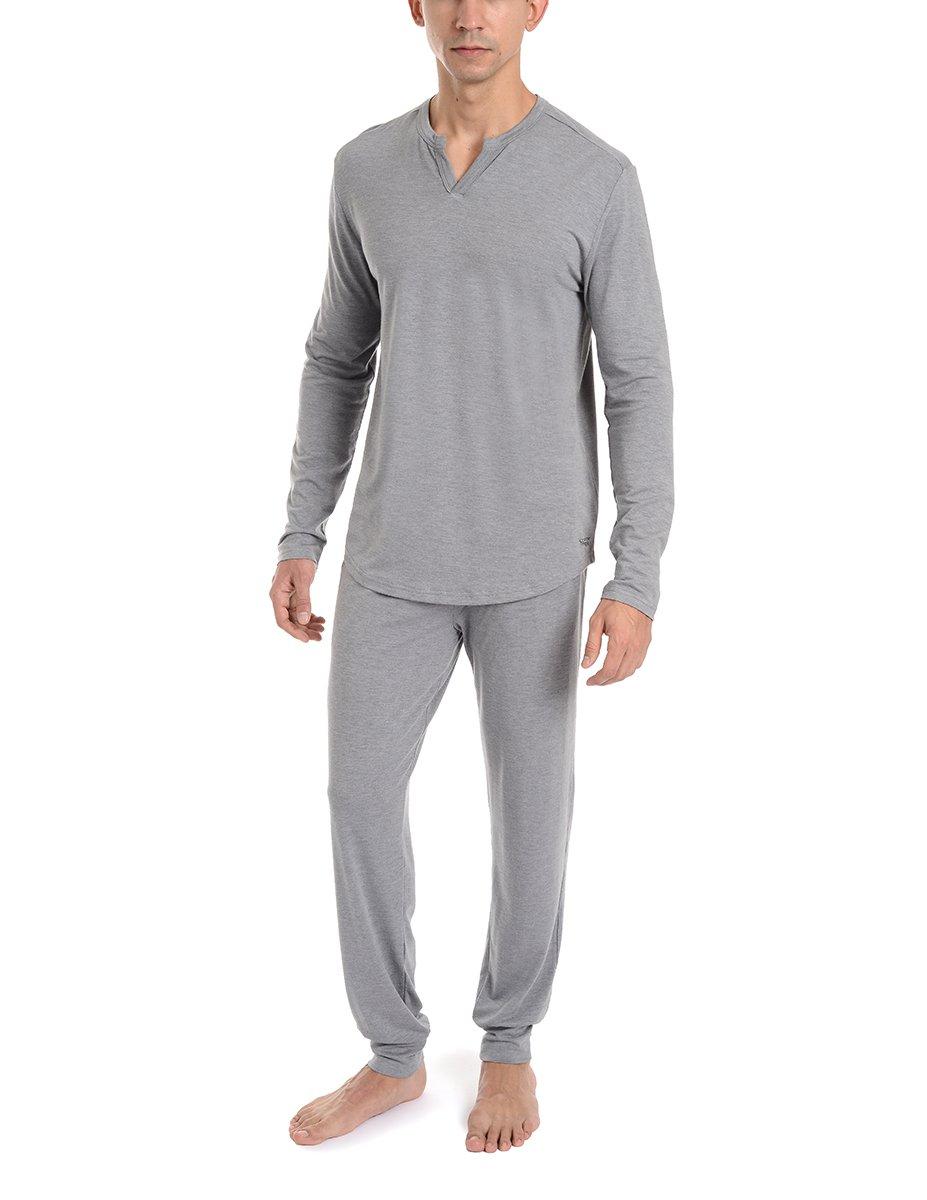 Copper Fit Men's Essential Long Sleeve Sleep Henley, Grey Heather, M