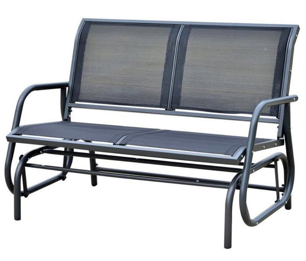 OUT/Y Outdoor Glider Bench Patio Swing Chair Garden Porch Rocking Seat in Dark Grey by OUT/Y