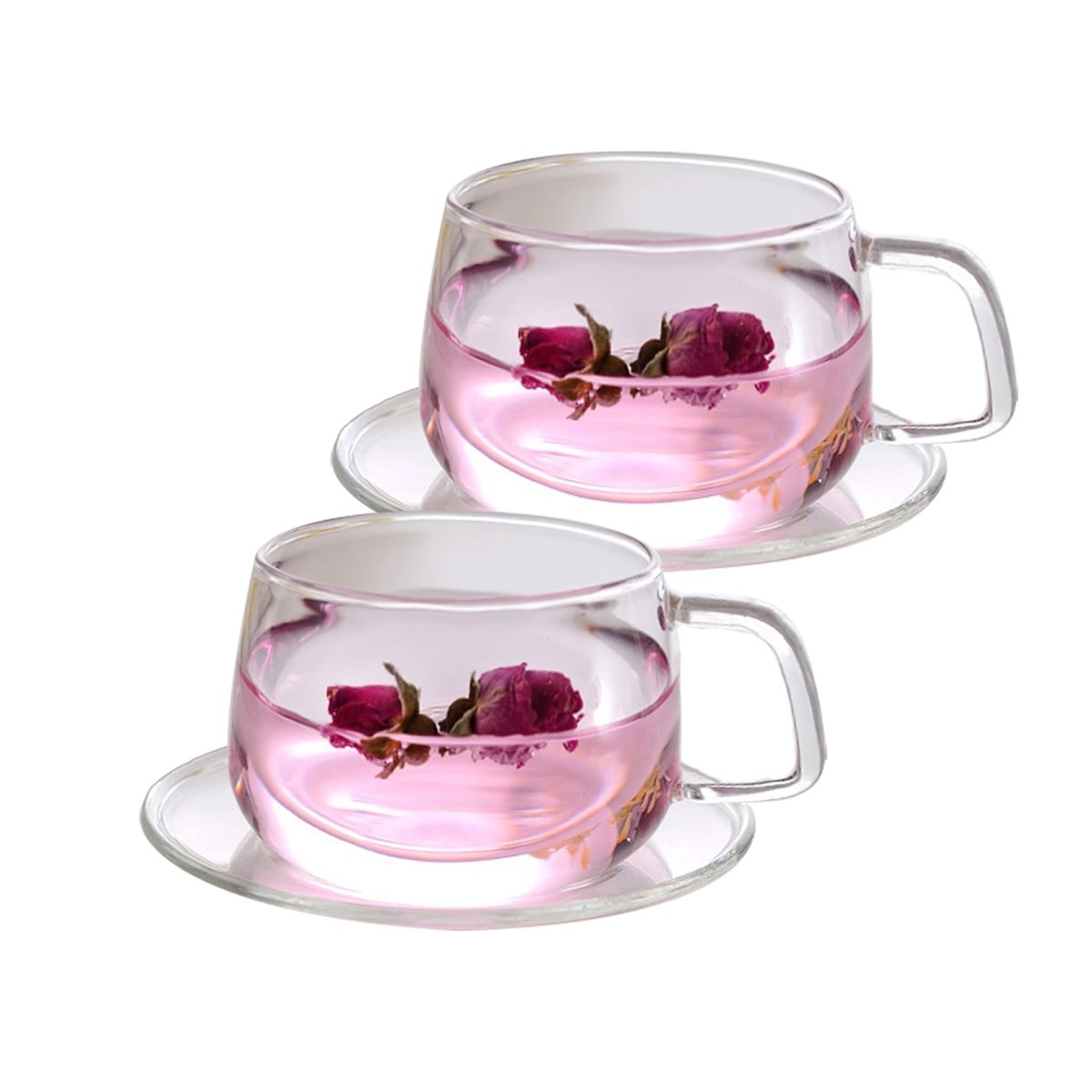 Tosnail 2 Pack 11-Ounce Clear Glass Tea Cups and Saucers Sets