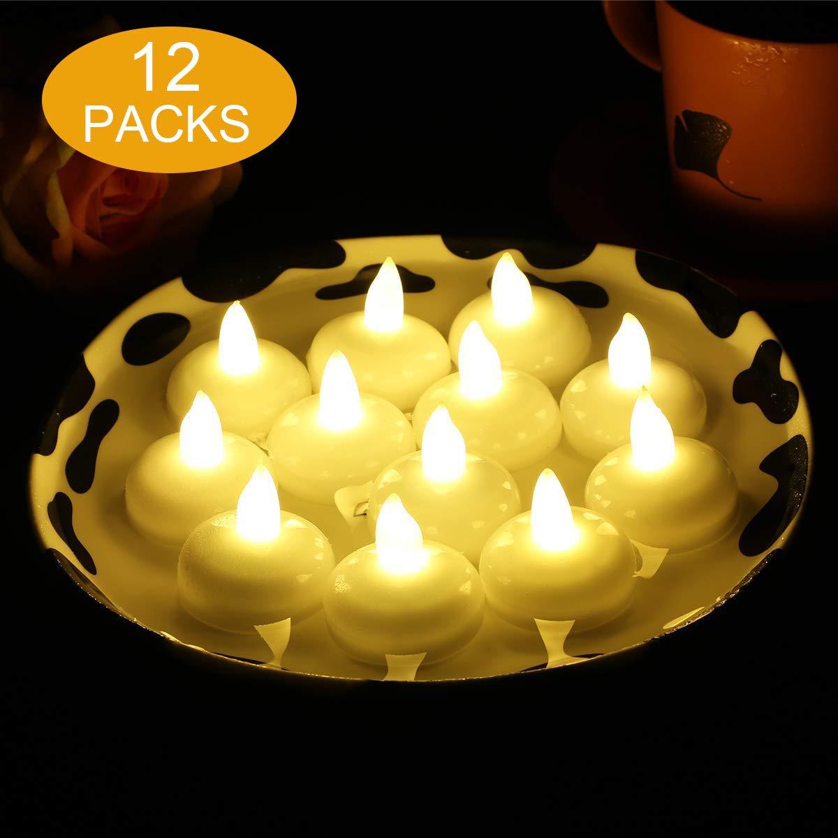 flintronic 12 Velas LED Flotantes, Velas Led de Té Velas Eléctricas con Baterías para San Valentín, Cumpleaños, Navidad, Halloween Decoración, Blanco ...