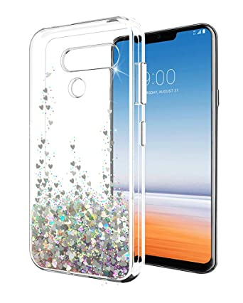 LG G8 ThinQ Case LG G8 Case SunStory Luxury Fashion Design with Moving Shiny Quicksand Glitter and Double Protection with PC Layer and TPU Bumper Case ...