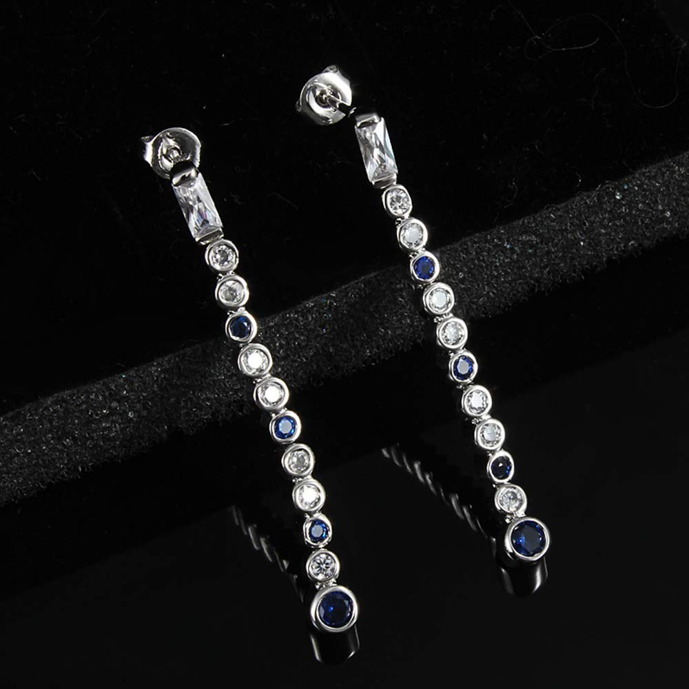 Onefeart White Gold Plated Stud Earrings for Women Round Cubic Zirconia Ladies Style Chic Fashion Jewelry 4CM White Gold