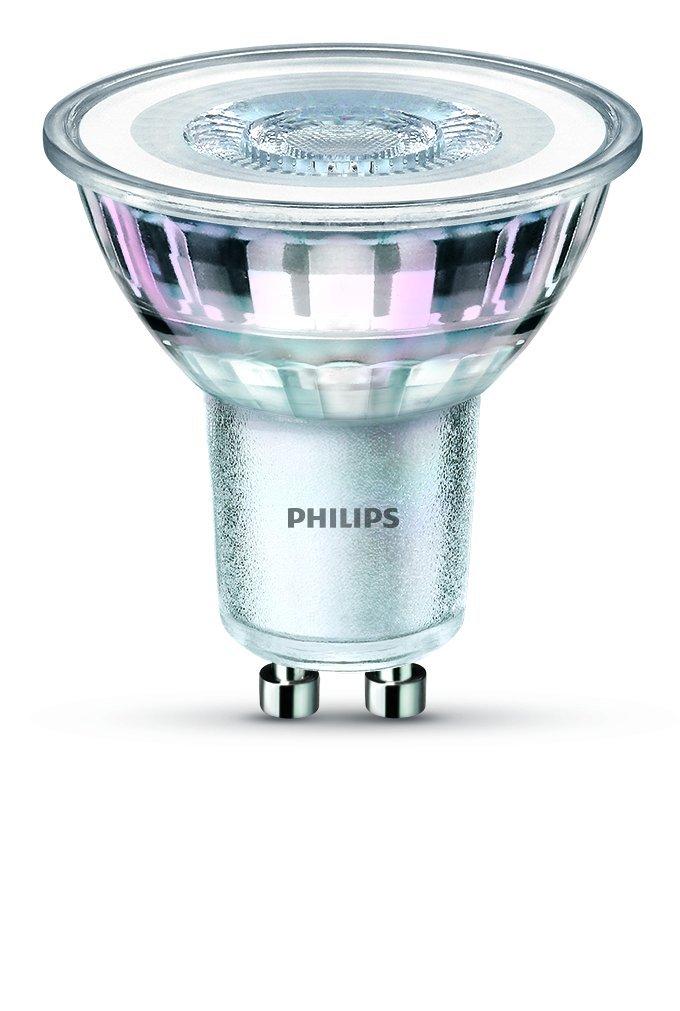 Philips - Bombilla LED (4,6 W GU10 LED Spot luz de cristal (de repuesto para foco halógeno de 50 W), color blanco cálido, vidrio sintético, Warm White, ...