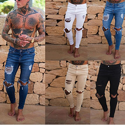 Vaqueros Denim Jeans Super Stretch Skinny Jeans Hot New Ripped Distressed Denim Pantalones Handsome Cool
