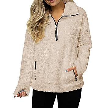 Womens Coats Winter Besde Womens Fashion Casual Warm Lightweight Outwear Sweatshirt Solid Wool Zipper Pockets Cotton