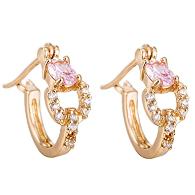 5d88348d353 YAZILIND Elegant Gold Plated Hollow Pink Cubic Zirconia Hoop Earrings for  Women