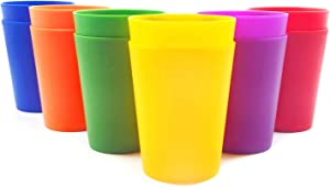 18-ounce Plastic Tumblers Drinking Glasses, Set of 12 Multicolor - Unbreakable, Dishwasher Safe, BPA Free