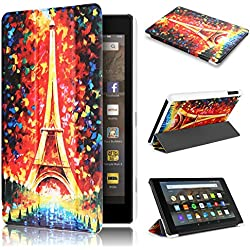 Fire HD 8 Case 7th generation 2017 Release, Swees Slim Folio Protective Leather Smart Case Cover with Stand for All New Amazon Fire HD 8 Tablet with alexa 7th gen 2017 Kids Friendly, Midnight in Paris