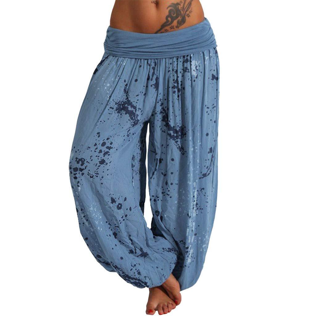 Respctful✿Women's Comfy Stretch Floral Print Drawstring Palazzo Wide Leg Lounge Pants Casual Loose Elastic Waist Harem Pants Blue