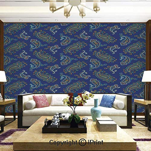 Lionpapa_mural Nature Wall Photo Decoration Removable & Reusable Wallpaper,Persian Ethnic Droplet Shaped Folk Motif with Medieval Victorian Like Image,Home Decor - 100x144 inches