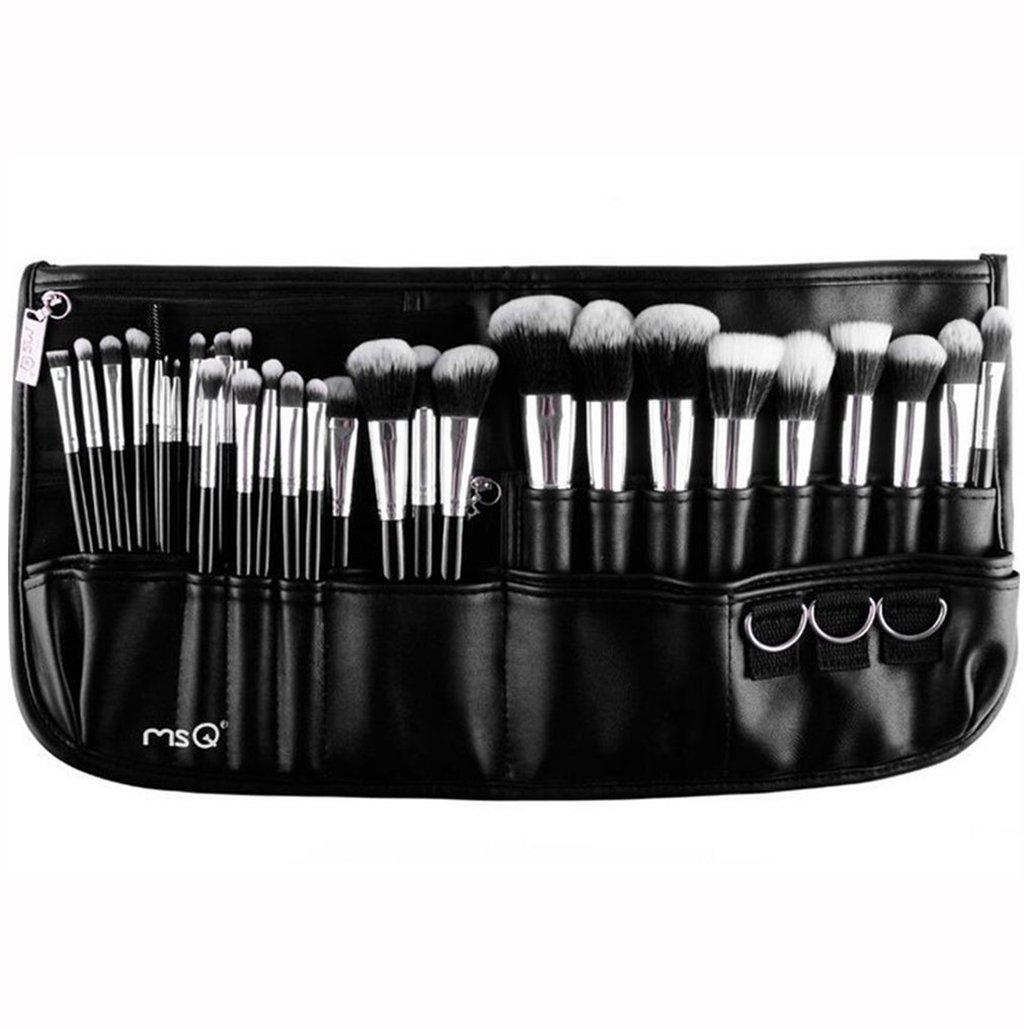 MSQ Makeup Brushes Set 29pcs Professional Cosmetics Brushes with Belt Waist Makeup Bag (Foundation, Powder, Creams, Liquids & Eye Brushes) for Women/Girls/Artists/Holiday gifts/travel