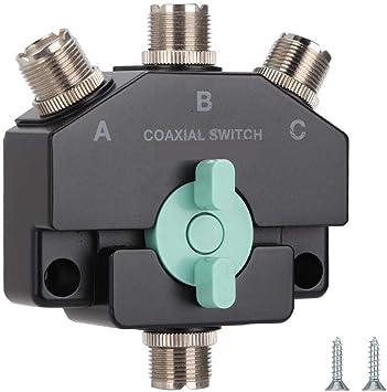 Conmutador de Antena, 1 Entrada 3 Salidas Conmutador de Antena Multifuncional Convertidor Adaptador CB Radio Antena Coax Switch.