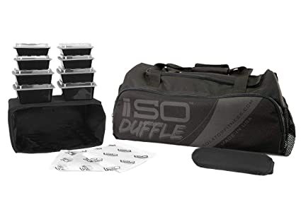Isolator Fitness 6 Meal ISODUFFLE Gym Bag Meal Prep Management Insulated  Duffle Lunch Bag with 8 dfe089fe12df9