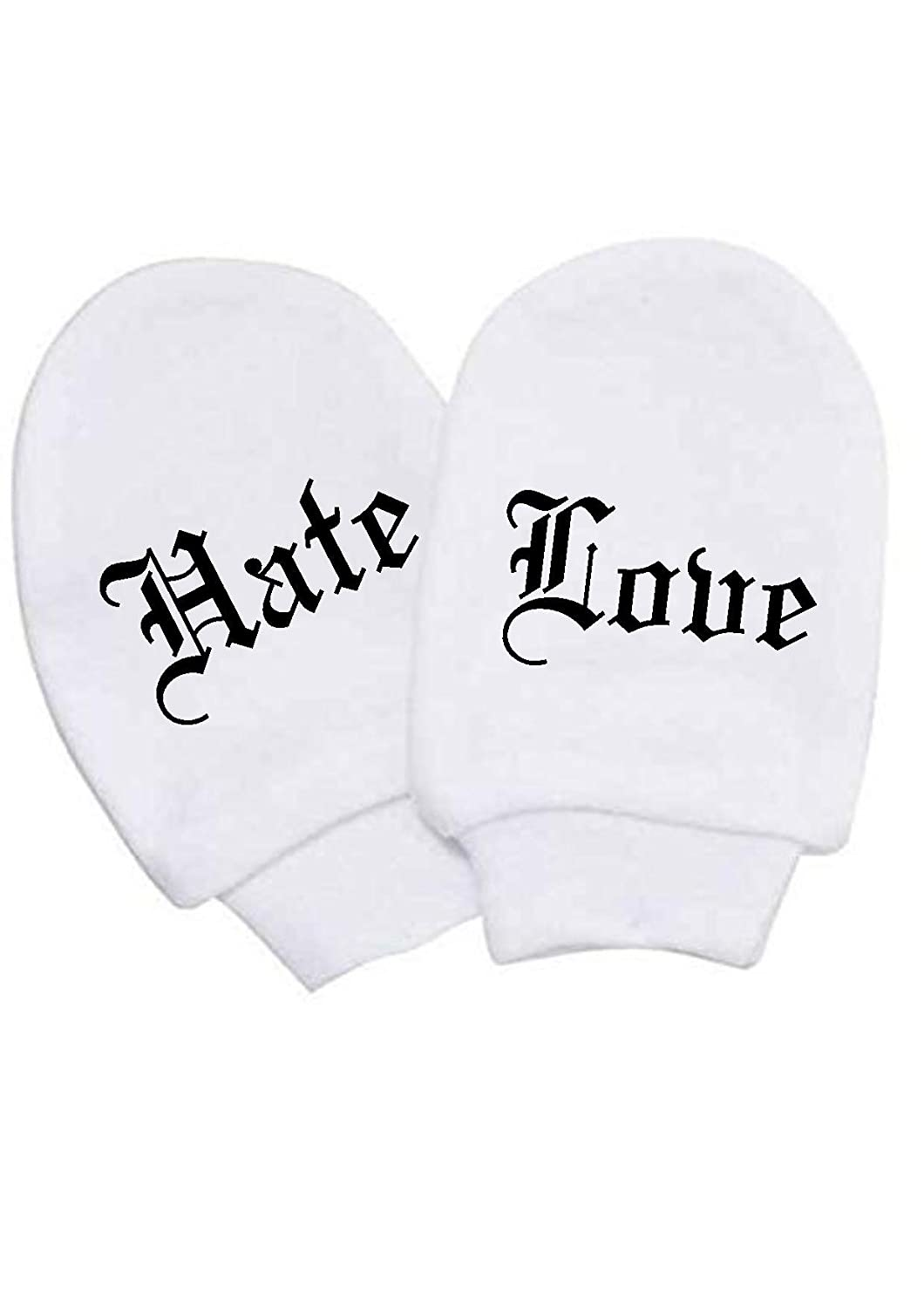 BABY BOY GIRL LOVE & HATE MITTS WHITE COTTON SCRATCH MITTENS NEWBORN