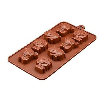 OUNONA Molde de caramelo de chocolate antiadherente silicona libre para hornear Molde animal Moldes de jabón