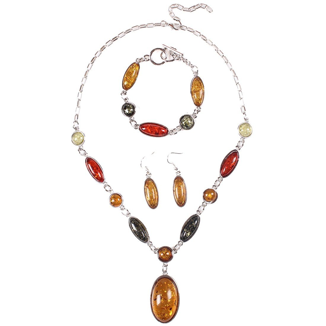 Qiyun Amber Beaded Multi-Colored Pendant Silver Necklace Earring Bracelet Set Bracelet En Argent Ambre Multicolore Collier W005N1126