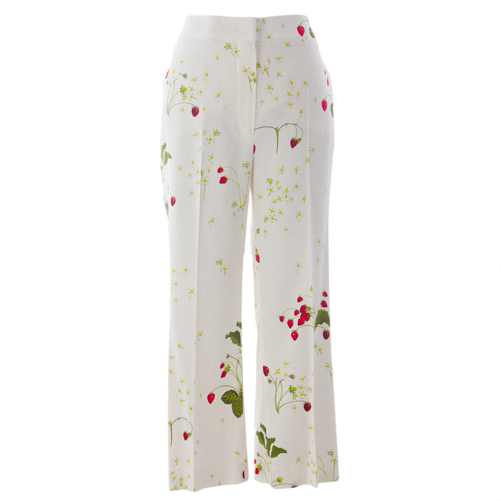 Sportmax by Max Mara Women's Glamour Printed Cropped Pants Sz 8 Ivory Strawberry