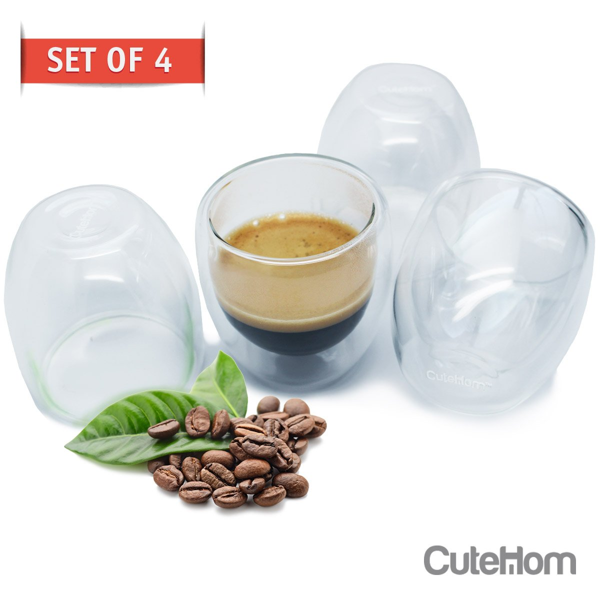 Cutehom Espresso Coffee Cups - Set of 4 Double Wall Shot Glasses