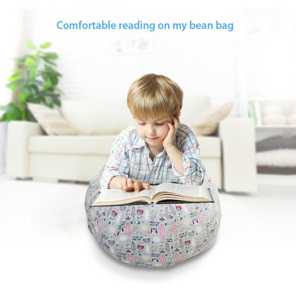 Stuffed Animal Storage Bean Bag Chair - Large Size 30 inch Cotton Canvas Children's Plush Toy Organizer Storage Bag (Gray) by Childmate (Image #6)