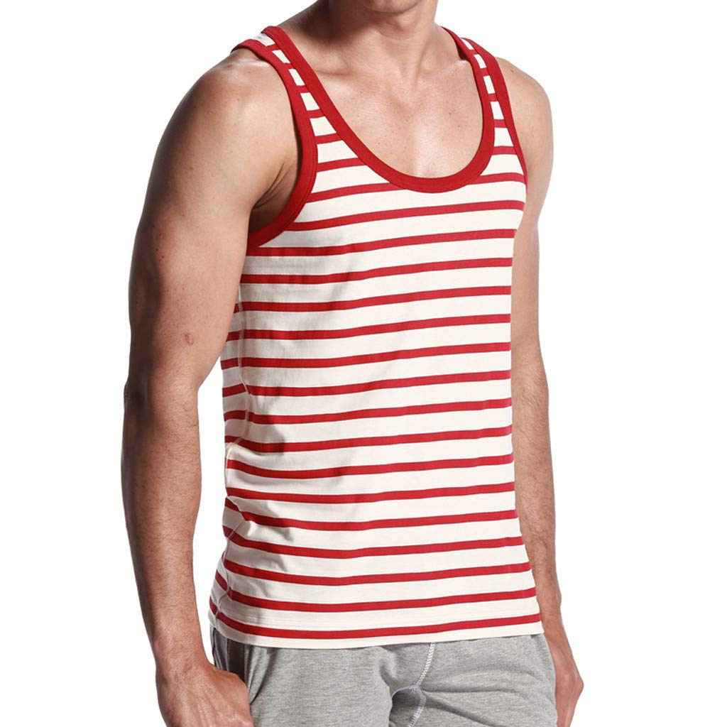 Qinnyo Mens SportsTank Tops for Men Recreational Printed Vest Fashion Outdoor Vest Blouse Tee Shirt Sweater Rot S-XL