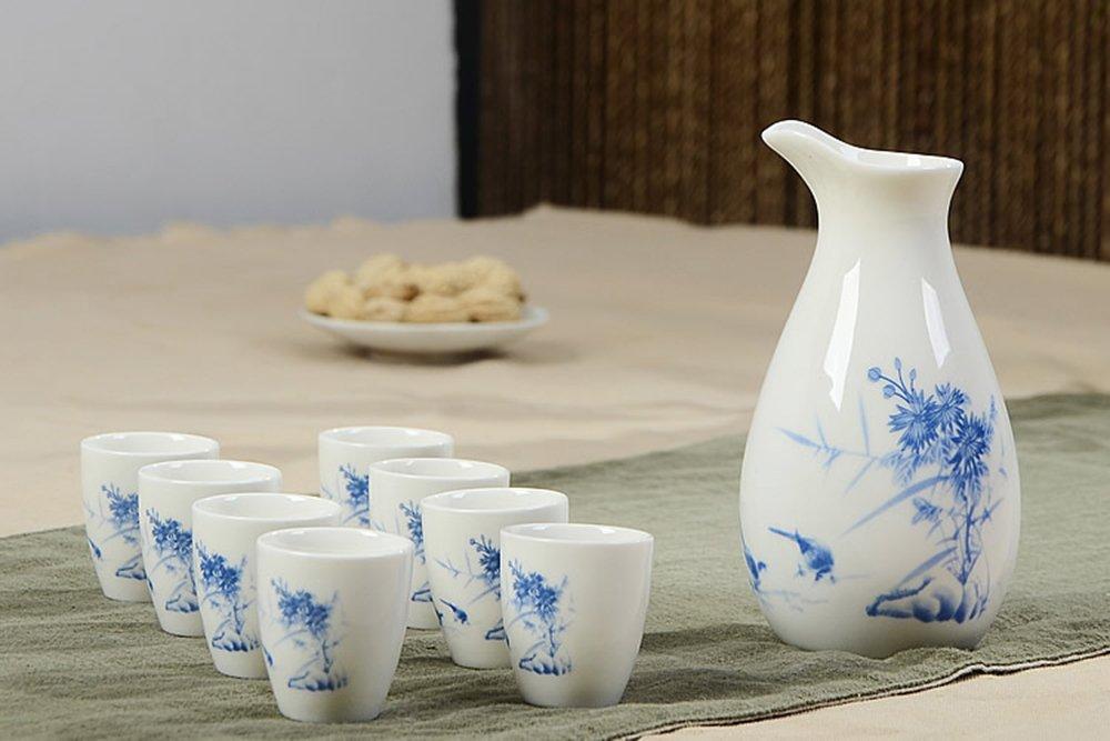 Dehua Porcelain 9 Pc Ceramic Sake Set White and Blue Porcelain-#1
