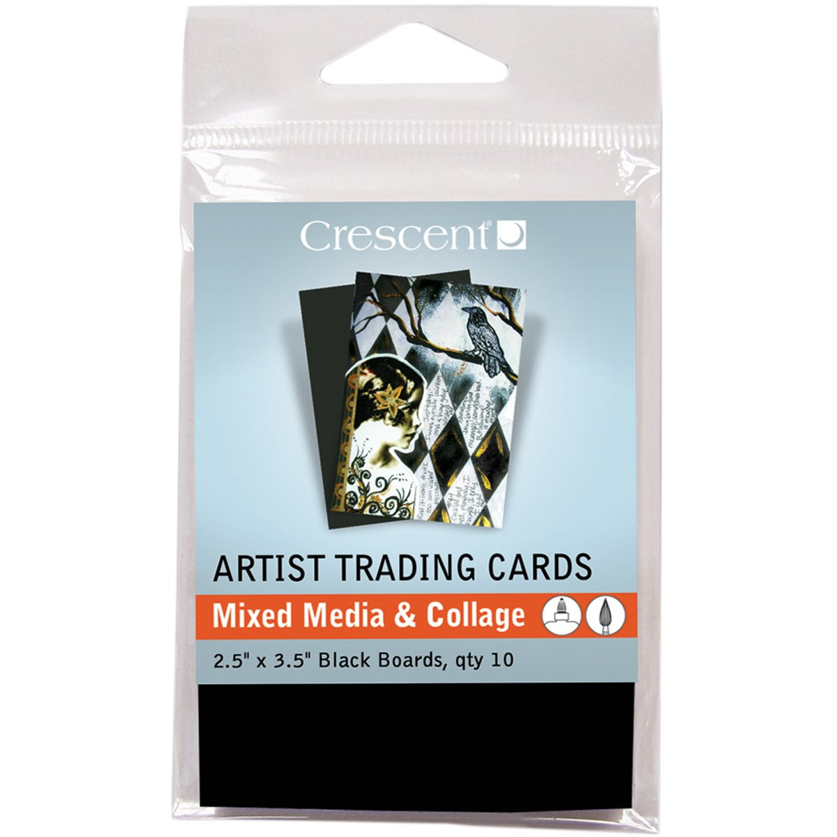 Crescent Cardboard Artist Mixed Media & Collage Trading Cards (10 Pack), 2.5' by 3.5', Black