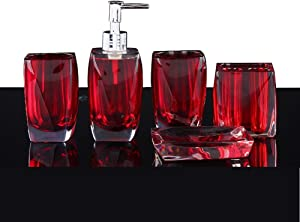 LUANT Bathroom Accessory Set Resin Soap Dish, Soap Dispenser, Toothbrush Holder & Tumbler (No Tray, Red)
