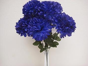Amazon dark blue chrysanthemum mum ball bush artificial silk dark blue chrysanthemum mum ball bush artificial silk flowers 19quot mightylinksfo