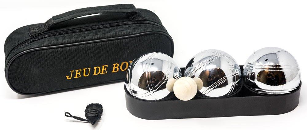 Petanca Set de bolos. 3 bolas en cremallera bolsa.: Amazon ...