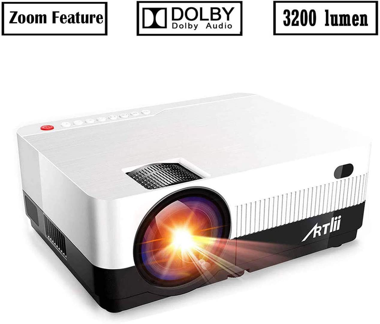 Portable Projector - Artlii 3200 Lumen Mini Projector for iPhone and Smartphone,1080P Support HD Projector with 180