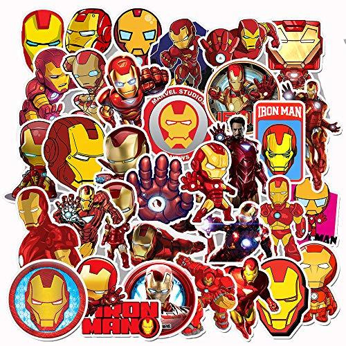 Iron Man Decal (Marvel Iron Man Laptop Stickers - 35 Pack Cartoon Vinyl Decals for Water Bottle Skateboard Phone Case Car Bike Bumper Luggage Helmet Bomb Waterproof No)