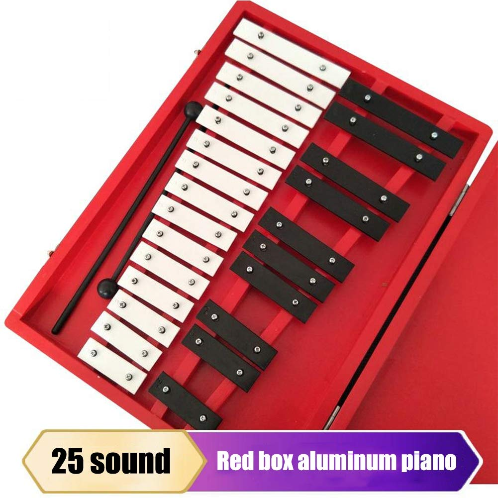 HBIAO Glockenspiel 25-Note Chromatic Xylophone - Wooden Case Professional Percussion Instrument by HBIAO