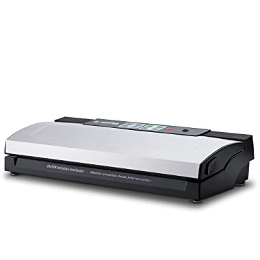 Gourmia GVS435 - Stainless Steel Vacuum Sealer - Preserve & Store Food or Vacuum for Sous Vide, 8 Versatile Function - Cannister Compatible, Includes Vacuum Seeler Bags & Knife -110V