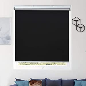 "Donutse 100% Blackout Fabric Shades Cordless Roller Shades for Windows, Window Blinds and Shades for Home and Office, Thermal Insulated, UV Protection, Black, 27"" W x 72"" H"