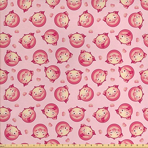 Ambesonne Pig Decor Fabric by the Yard, Cheerful Smiling Pig Faces Winking Animal Farm Life Joyful Pets Toy Patterns, Decorative Fabric for Upholstery and Home Accents - Joyful Pig