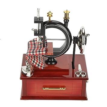 Vintage Music Box Mini Sewing Machine Style Jewelry Case Mechanical