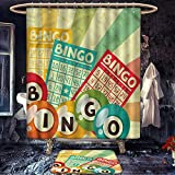 homecoco Vintage patterned Shower curtain bath mat Bingo Game with Ball and Cards Pop Art Stylized Lottery Hobby Celebration Theme Fabric Bathroom Decor Set with Hooks Multicolor