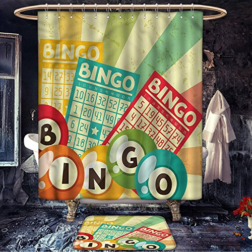 homecoco Vintage patterned Shower curtain bath mat Bingo Game with Ball and Cards Pop Art Stylized Lottery Hobby Celebration Theme Fabric Bathroom Decor Set with Hooks Multicolor by homecoco