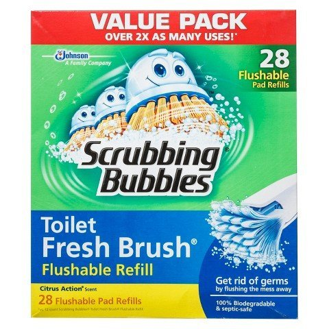 Scrubbing Bubbles Toilet Fresh Brush Flushable Refills, Citrus Scent, 28 Count