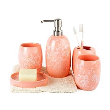 WEIYUSJT ZYAY Cuarto de baño Accesorios Sets Porcelana Cuarto de baño Suite Juegos de Lavado Emulsión Botellas Cepillo de Dientes jabonera: Amazon.es: ...