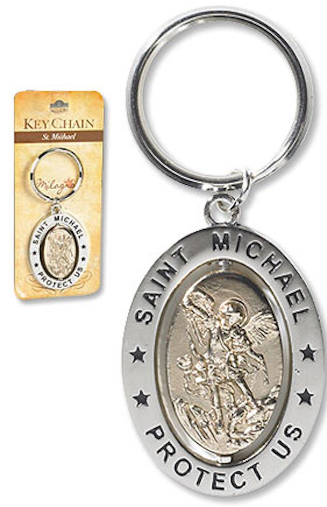 Saint St Michael 3 1/4' Zinc Alloy Silver Plate Revolving Dual Tone Key Ring with Prayer Religious Gifts