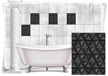 Fliesenaufkleber Fliesenbild Fliesen Aufkleber Mosaik Schwarz Kachel Bad WC  Küche Deko Kachel Badezimmer, 12 Stück