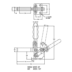 POWERTEC 20335 Vertical Quick-Release Toggle Clamp, 500lbs Capacity, 12130, 2PK (Tamaño: 2 Pack)