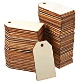 Unfinished Wood Tag - 60-Pack Wooden Gift Tags, Natural Rustic Wood Craft Labels for Home DIY Supplies, Wedding Decoration, 2.25 x 1.25 inches