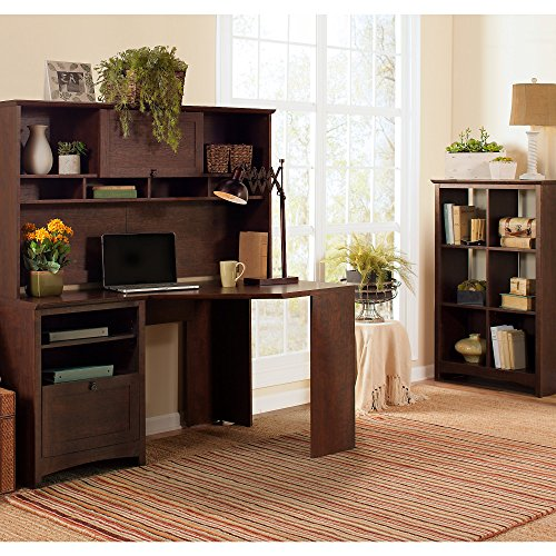 Bush Furniture BUV008MSC Buena Vista Corner Desk with Hutch, Madison Cherry (Extension Vista Table)