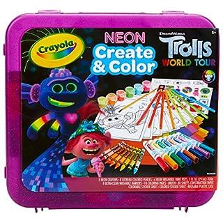 Crayola Trolls World Tour, Neon Create & Color Art Set, Over 70 Art Supplies, Gift for Kids, 5, 6, 7, 8