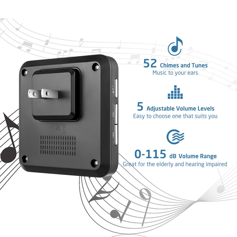 Wireless Doorbell, AVANTEK D-3B Waterproof Door Chime Kit Operating at Over 1300 Feet with 2 Plug-In Receivers, 52 Melodies, CD Quality Sound and LED Flash by AVANTEK (Image #2)
