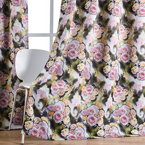 (Kotile Floral Design 3D Digital Printing Blackout Curtains for Bedroom, Colorful Flower Peony Yellow Grey Décor Fabric Panel, Room Darkening Grommet Window Drape for Living Room, 2 x 52 x 84 Inches)